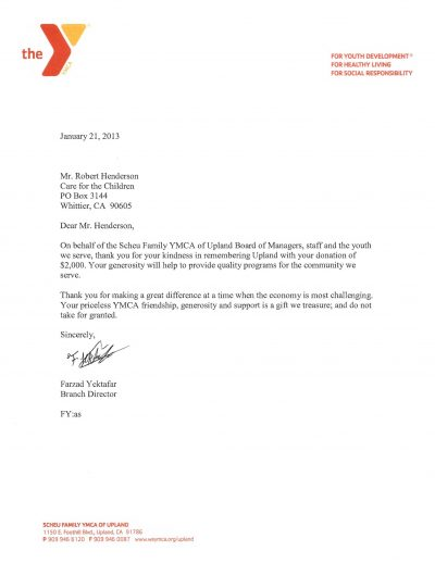 Scheu Family YMCA of Upland Letter 1